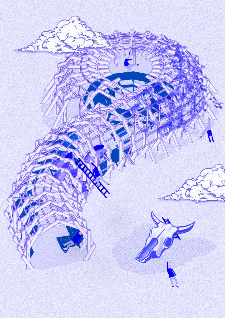 Axonométrie de la Mue, base du Serpent, imaginée sur le site de Transfert